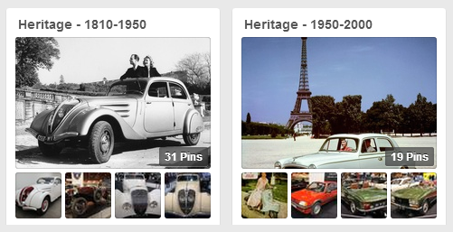 Example: Two boards on the Peugeot Pinterest page showing their car history