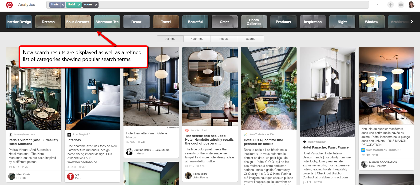 Example Pinterest Guided Search