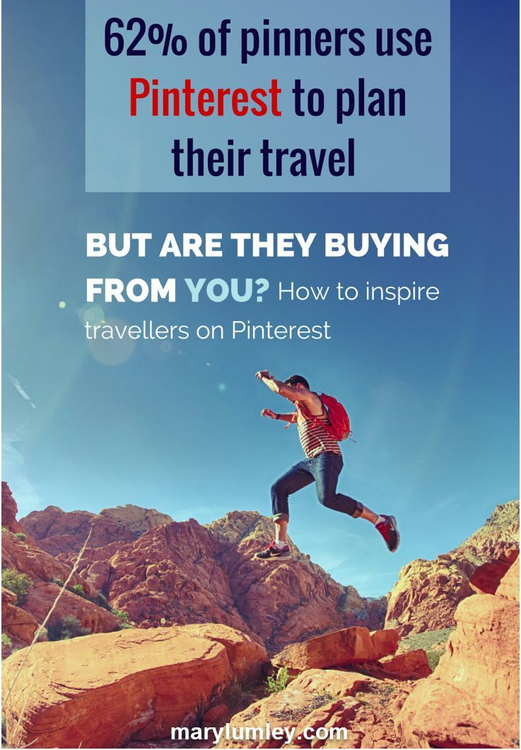 HOW TO BE AWESOME ON PINTEREST: INSPIRE TRAVELLERS RIGHT NOW! Did you know that 62% of Pinterest users say they use it to help them plan their travels? It is one of Pinterest's top 10 search categories. If your business is in the travel industry, you should seriously consider including it in your marketing strategy. If you haven't, you are missing out on a great deal of potential business. Find out how right now!