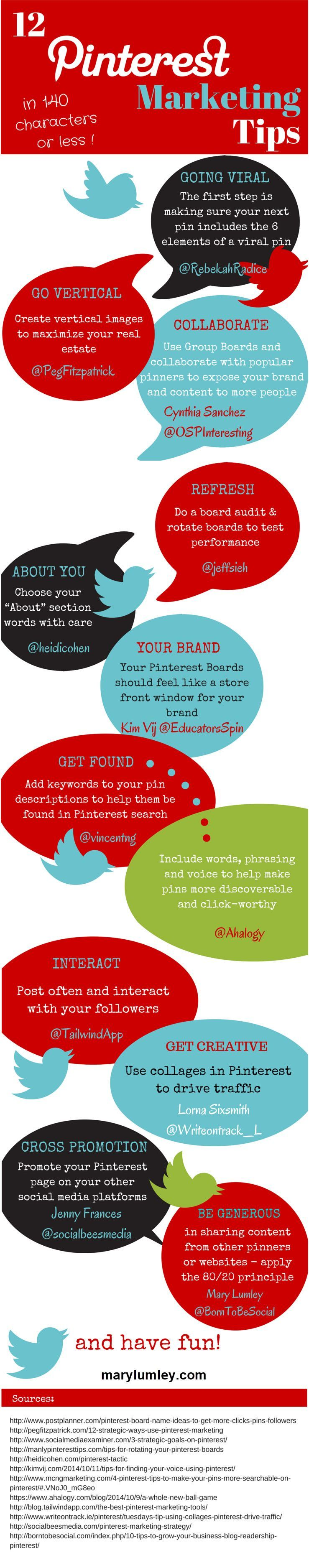 12 Tweetable Pinterest Marketing Tips from the Pros - Infographic. Looking for inspiration to improve your marketing efforts on Pinterest?  Want to drive more traffic to your website through Pinterest? Here are 12 highly tweetable and actionable tips