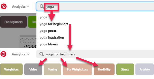 Pinterest search example - yoga