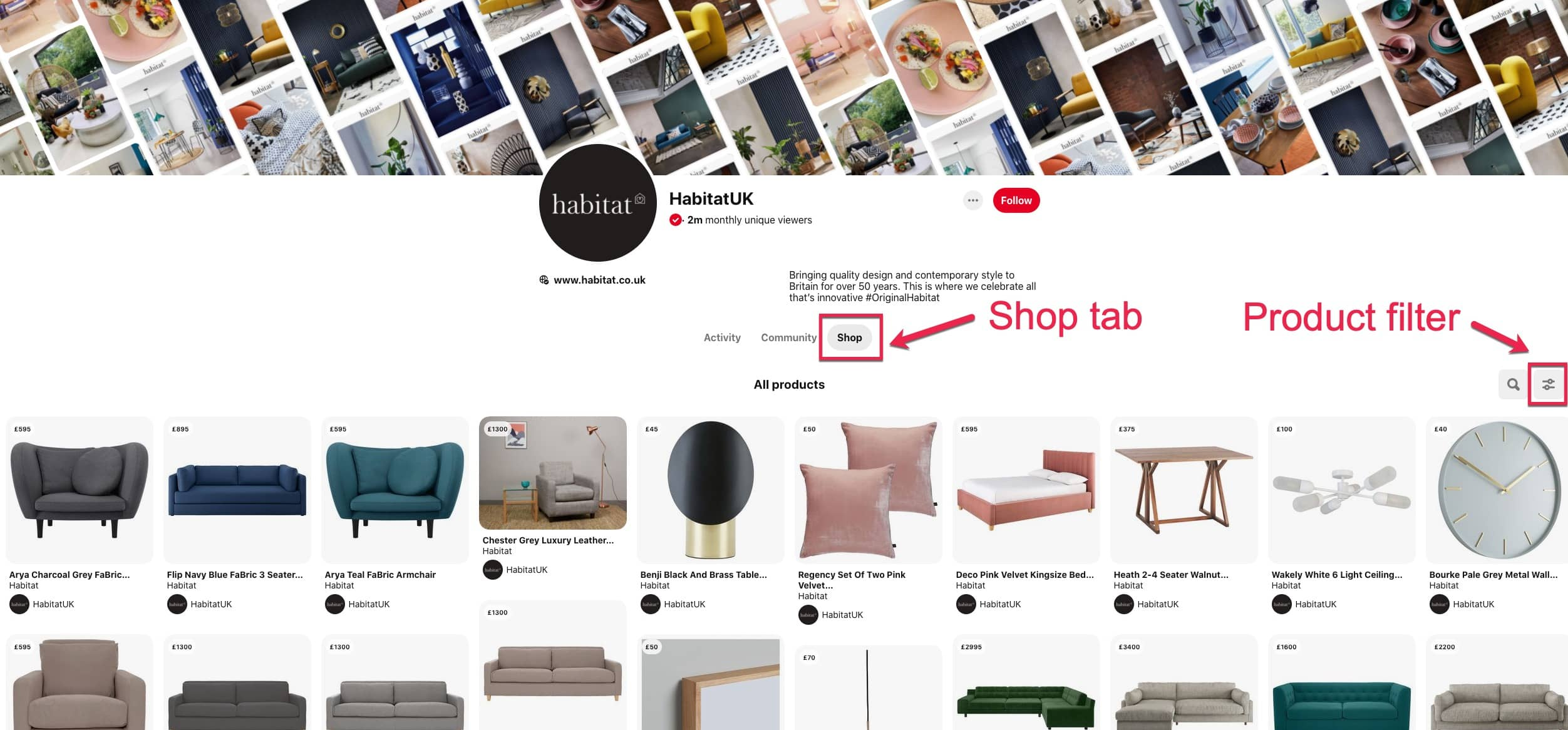 Image of Habitat Shop tab on Pinterest