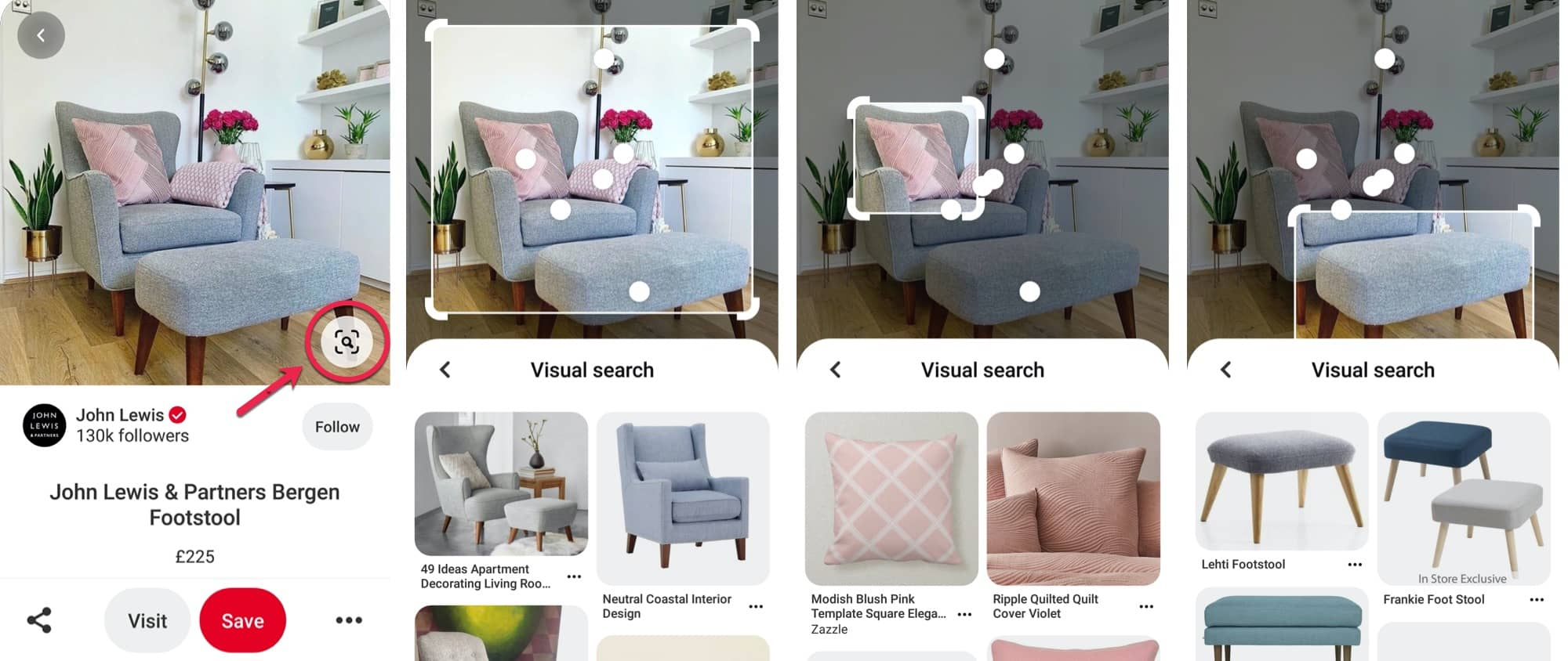 Image of visual search on Pinterest