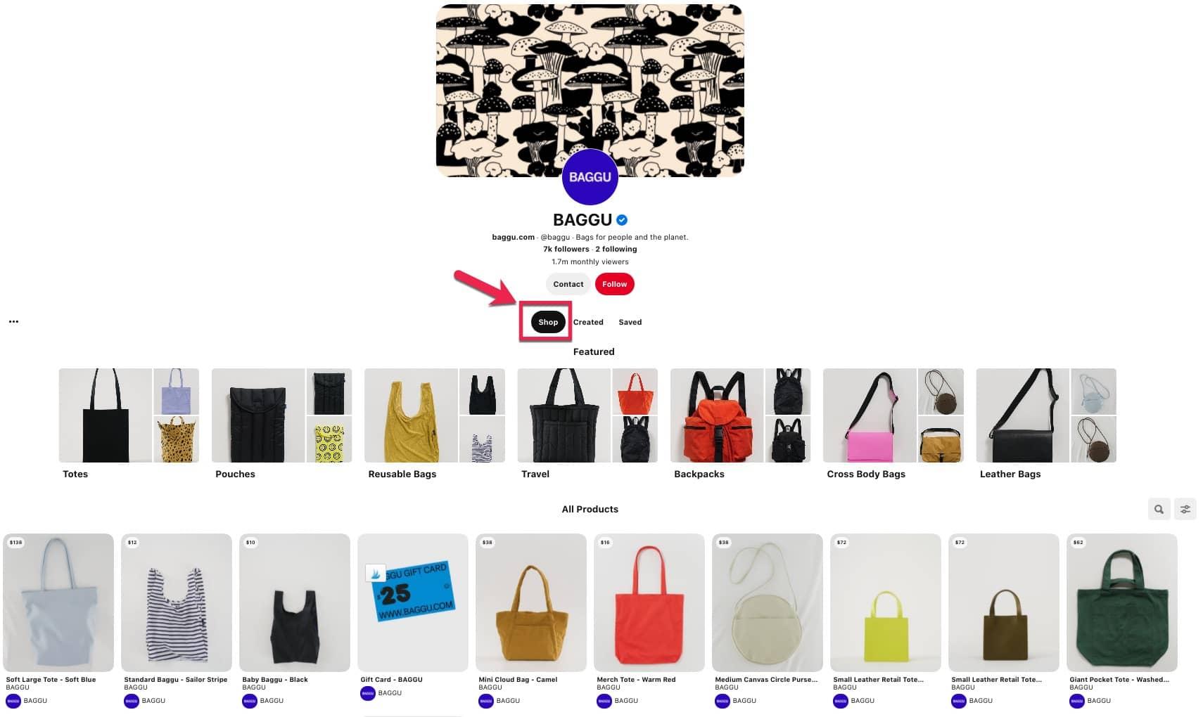 Image of Shop tab for Baggu