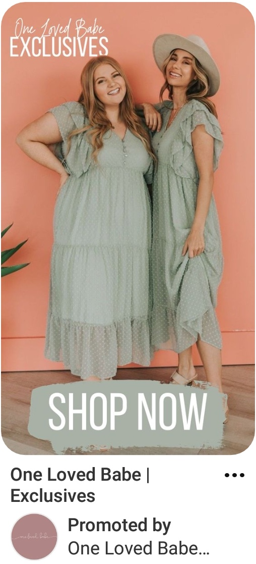 Image showing Pinterest ad specs example of ad with two ladies in green summer dresses