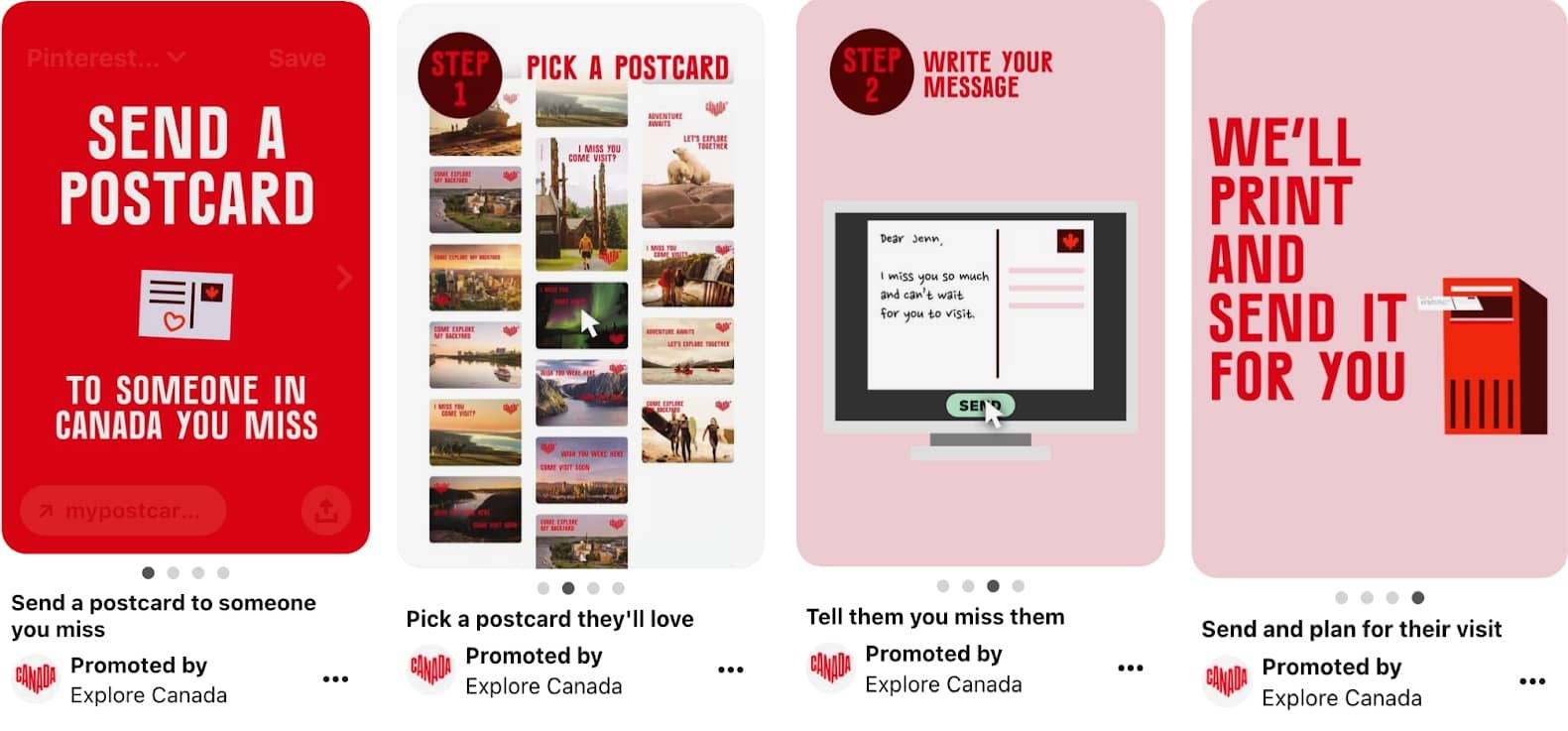 Image showing Pinterest ad specs example of promoted carousel ad