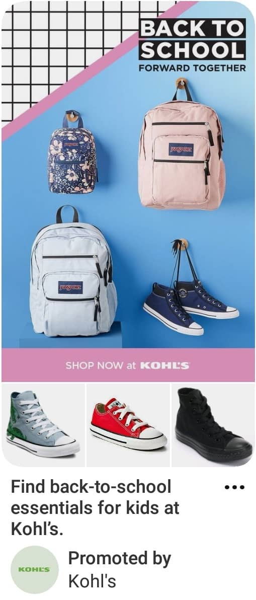 Image showing Pinterest ad specs example of collections ad with back to school items