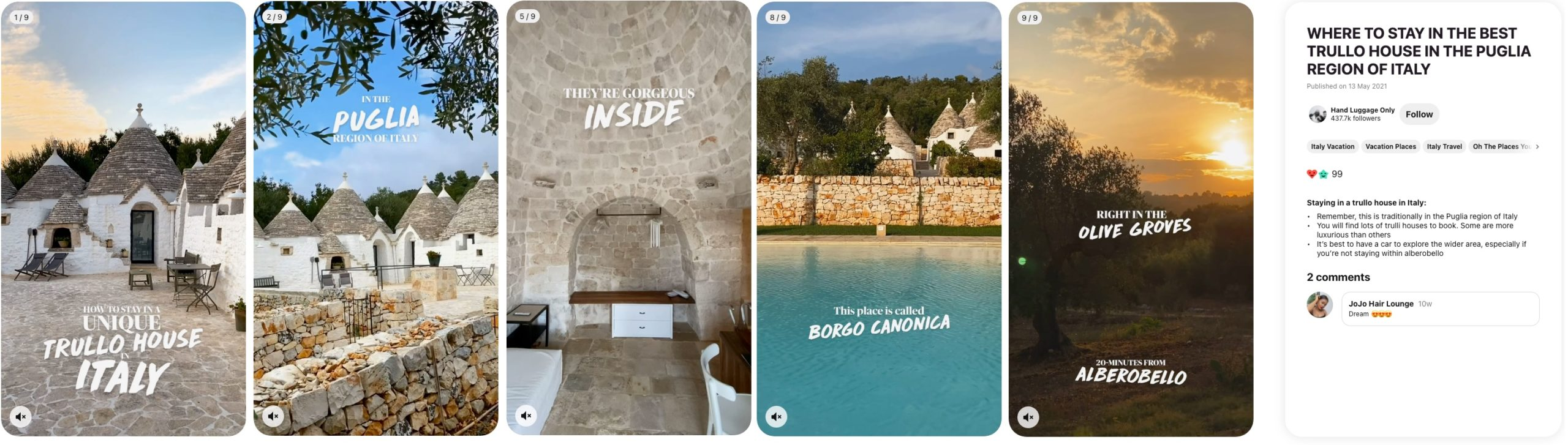 Image showing Pinterest ad specs example of ideas pin for travel destination in Italy