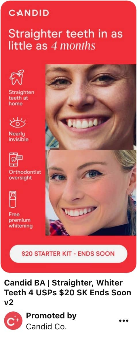 Image showing Pinterest ad specs example of tall pin with woman showing off straight teeth